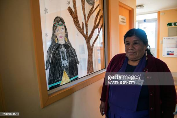 Chilean Mapuche teacher Flora Collonao poses at a school for Mapuche children in Temulemu on November 09 2017 The Mapuches which represent about 7%...