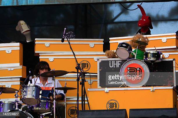 Chilean members of the television series '31 minutes' performs live on stage during the 2012 Lollapalooza Music Festival at OHiggins Park on Marchl...