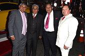 Chilean miners Juan Carlos Aguila Mario Gomez Luis Urzua and Edison 'Elvis' Pena attend the Centerpiece Gala Premiere of Alcon Entertainment's 'The...