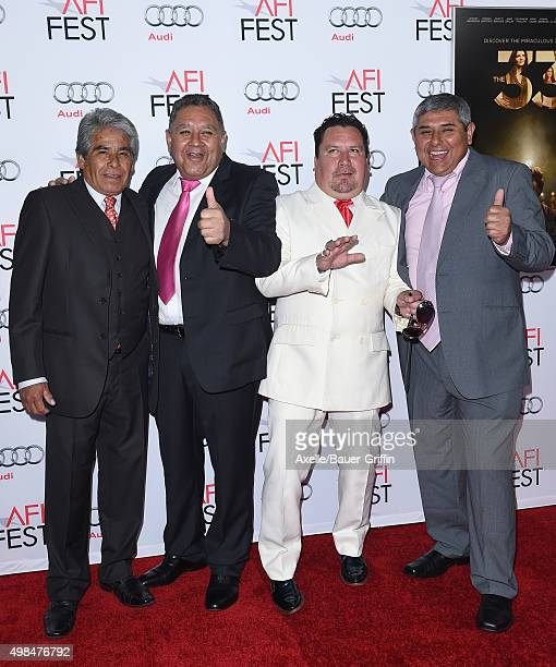 Chilean miners Luis Urzua Edison Pena Juan Carlos Aguilar and Mario Gomez arrive at the AFI FEST 2015 Presented By Audi Centerpiece Gala Premiere of...