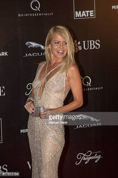 Chilean model and actress Cecilia Bolocco poses during Gala MATE 2016 for the inauguration of new display spaces and exhibitions at MATE on October...