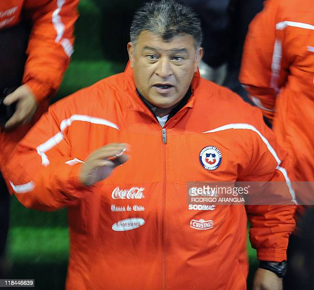 Chilean national football team coach Claudio Borghi gestures during the field recognition at the Malvinas Argentinas stadium in Mendoza Argentina on...