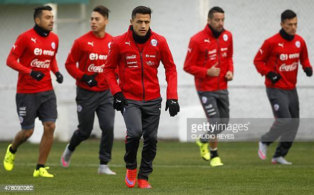 Chilean national football team player Alexis Sanchez during a training session at the Juan Pinto Duran sport complex in Santiago on June 22 2015...