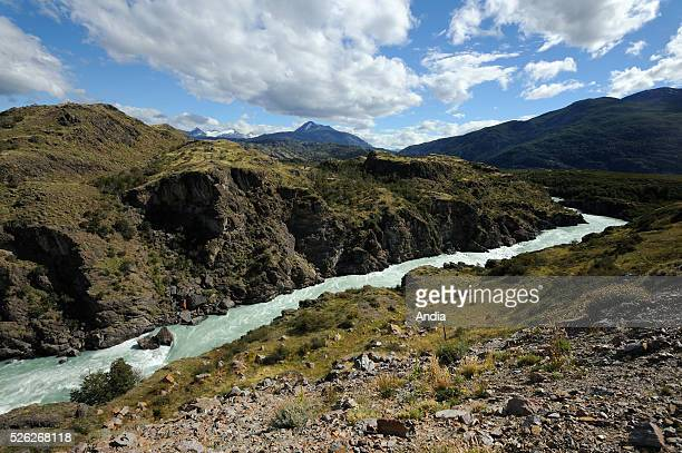 Chilean Patagonia Torrent and mountaineous landscape in the surrounding area of the Carretera Austral near Cochrane
