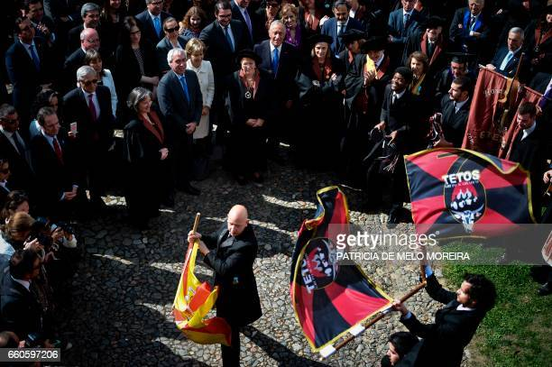 Chilean President Michelle Bachelet accompanied by Portuguese President Marcelo Rebelo de Sousa and Evora's University Dean Ana Costa Freitas attend...