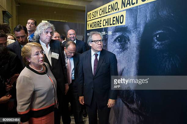 Chilean President Michelle Bachelet and OAS Secretary General Luis Almagro Chilean attend a photo exhibition event in honor of former Chilean Foreign...