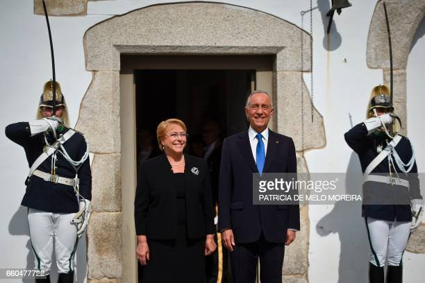 Chilean President Michelle Bachelet and Portuguese President Marcelo Rebelo de Sousa pose for a photo at Sao Miguel Palace in Evora Alentejo on March...