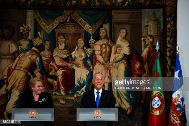 Chilean President Michelle Bachelet and Portuguese President Marcelo Rebelo de Sousa give a joint press conference at Sao Miguel Palace in Evora...