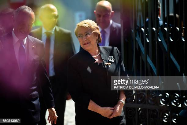 Chilean President Michelle Bachelet and Portuguese President Marcelo Rebelo de Sousa arrive at Evora University where she will be awarded an honorary...