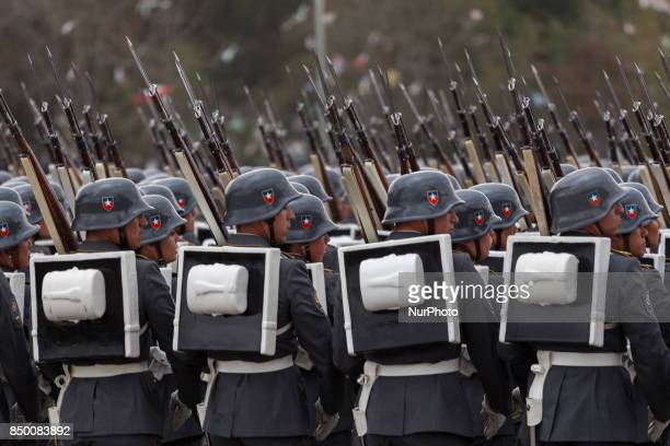 Chilean President Michelle Bachelet attends for the last time as president to the traditional military parade in Santiago Chile on September 19 2017...