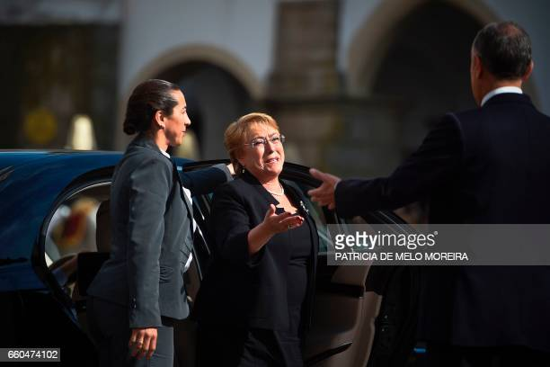 Chilean President Michelle Bachelet is welcomed by Portuguese President Marcelo Rebelo de Sousa upon her arrival at Giraldo square in Evora Alentejo...