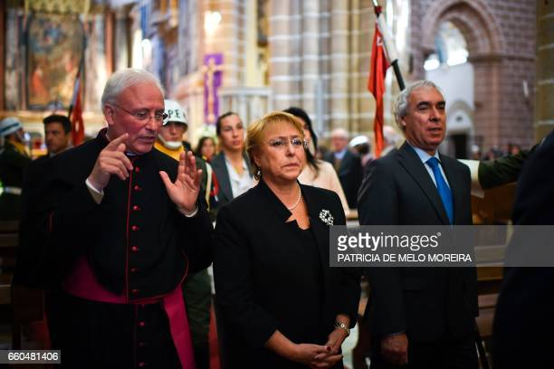 Chilean President Michelle Bachelet visits Evora cathedral during her two days official visit to Portugal in Evora Alentejo on March 30 2017 / AFP...