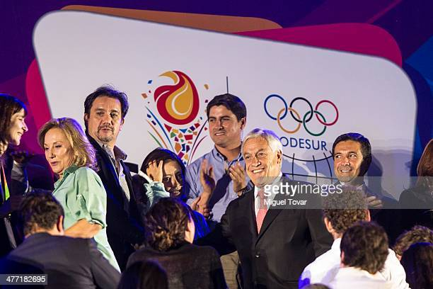 Chilean president Sebastian Piñera arrives at the Opening Ceremony of the X South American Games Santiago 2014 at Estadio Nacional on March 07 2014...