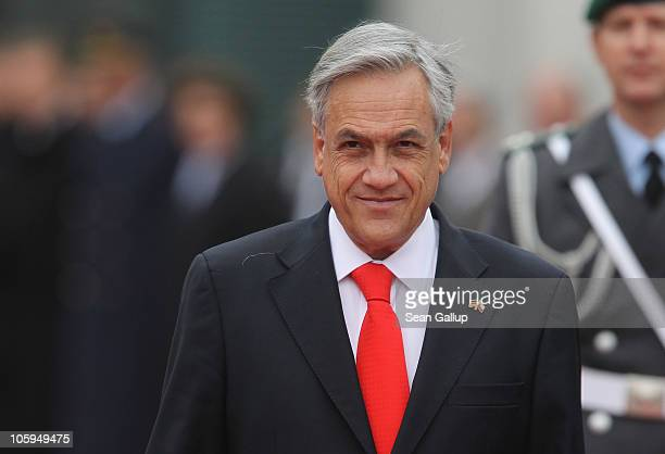 Chilean President Sebastian Pinera arrives at the Chancellery to meet with German Chancellor Angela Merkel on October 22 2010 in Berlin Germany...