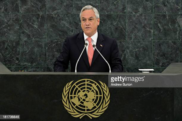 Chilean President Sebastian Pinera Echenique speaks at the 68th United Nations General Assembly on September 24 2013 in New York City Over 120 prime...