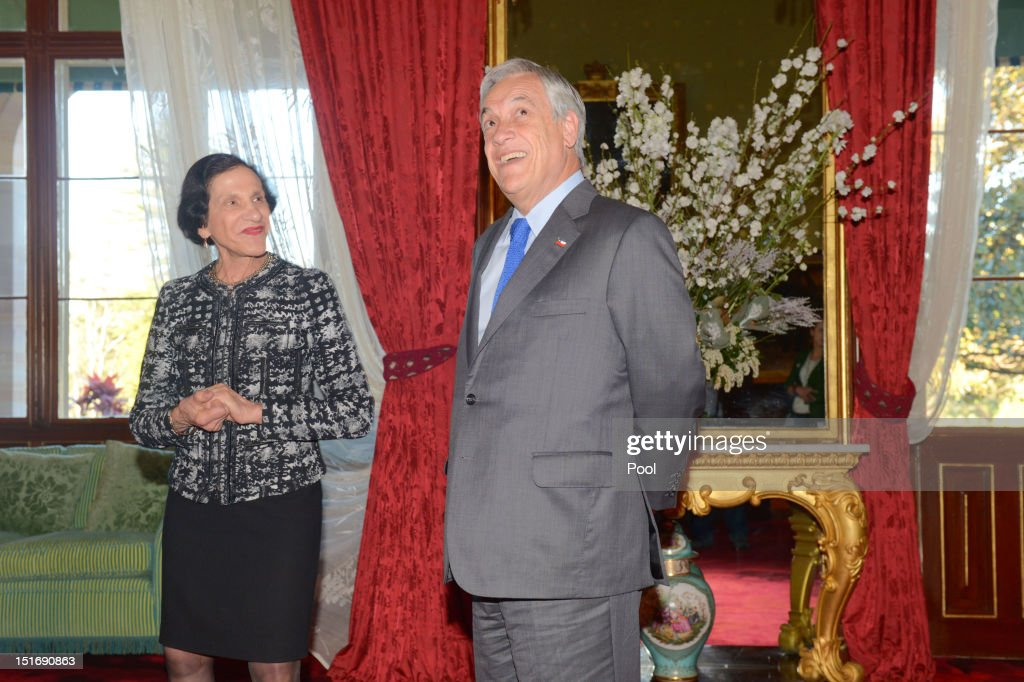 Chilean President <a gi-track='captionPersonalityLinkClicked' href=/galleries/search?phrase=Sebastian+Pinera&family=editorial&specificpeople=768332 ng-click='$event.stopPropagation()'>Sebastian Pinera</a> meets with Governor of NSW Prof <a gi-track='captionPersonalityLinkClicked' href=/galleries/search?phrase=Marie+Bashir&family=editorial&specificpeople=226887 ng-click='$event.stopPropagation()'>Marie Bashir</a> at Government House on September 10, 2012 in Sydney, Australia. Pinera is on an official vist to Australia from September 10-11 and will meet with acting Prime Minister Wayne Swan.