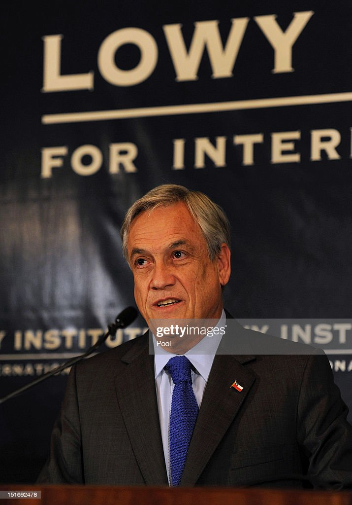 Chilean President <a gi-track='captionPersonalityLinkClicked' href=/galleries/search?phrase=Sebastian+Pinera&family=editorial&specificpeople=768332 ng-click='$event.stopPropagation()'>Sebastian Pinera</a> speaks at the Lowy Institute for International Policy on September 10, 2012 in Sydney, Australia. Pinera is on an official two-day vist to Australia and will meet with acting Prime Minister Wayne Swan. The address by President Pinera was entitled 'The Pacific Alliance and Chile, a view towards the Asia-Pacific through a 21st century perspective'.
