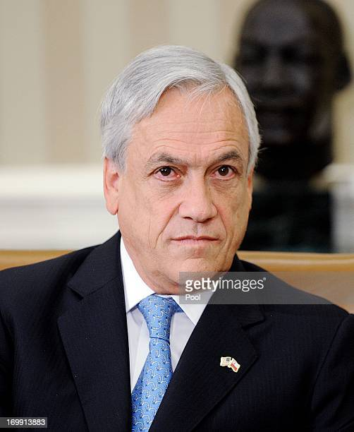 Chilean President Sebastián Piñera looks on in the Oval Office of the White House June 4 2013 in Washington DC Obama and Piñera spoke about an...