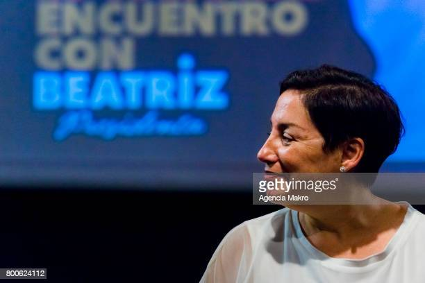 Chilean presidential candidate Beatriz Sánchez looks on during a meeting with supporters at Teatro La Comedia on June 24 2017 in Santiago Chile