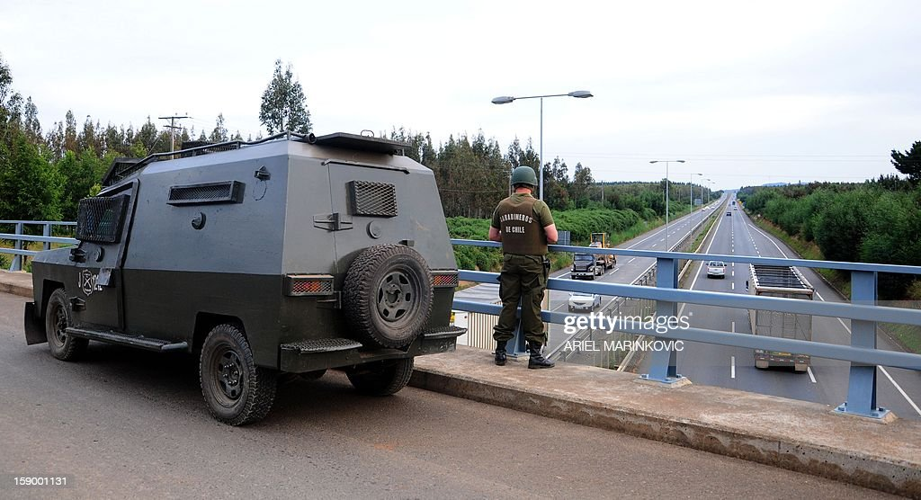 Chilean riot police guard on a highway after the murder of Warner Luchsinger(75) and his wife Vivianne McKay on January 4, 2013 in Temuco, some 700 km south to Santiago, Chile. The farmer and his wife were burned to death as their house was set on fire early Friday in southern Chile, as authorities blamed indigenous activists for the 'terrorist' act. The fire comes amid a wave of attacks in recent weeks in territories where the indigenous Mapuche Indians claim historic rights. The government has blamed the violence on a radical movement within the group. AFP PHOTO/ARIEL MARINKOVIC
