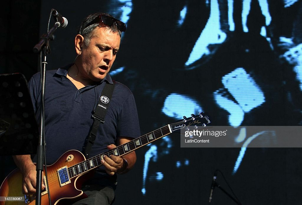 Chilean singer Carlos Cabezas of 'Electroméstico group' performs live on stage during the 2012 Lollapalooza Music Festival at OHiggins Park on March 31, 2012 in Santiago, Chile.