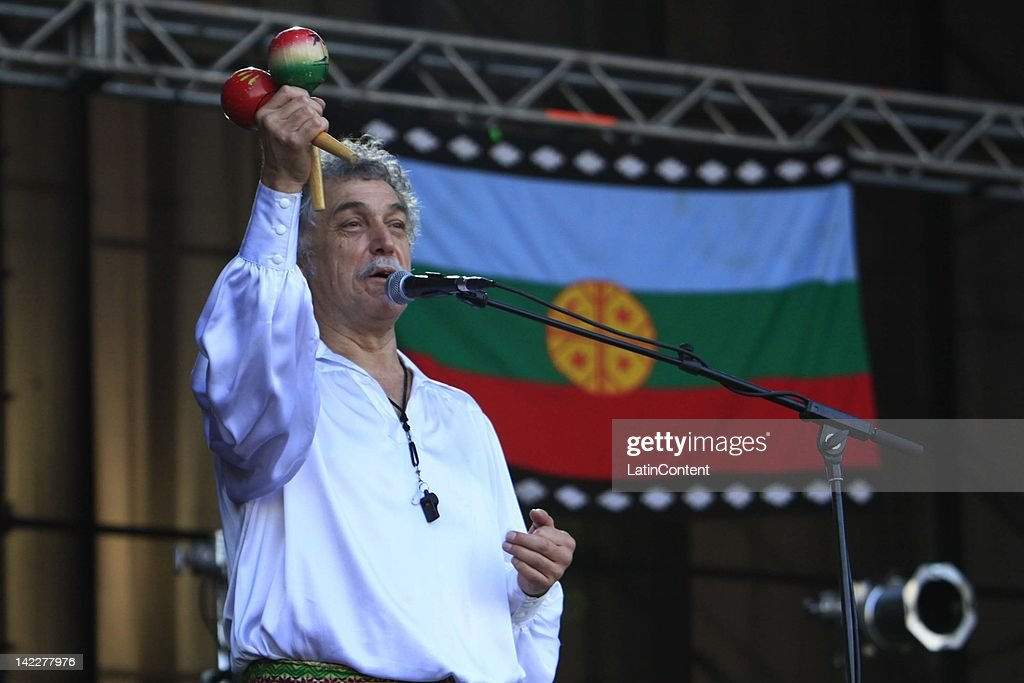 Chilean singer Claudio Parra of Los Jaivas performs live on stage during the 2012 Lollapalooza Music Festival at OHiggins Park on Marchl 31, 2012 in Santiago, Chile.