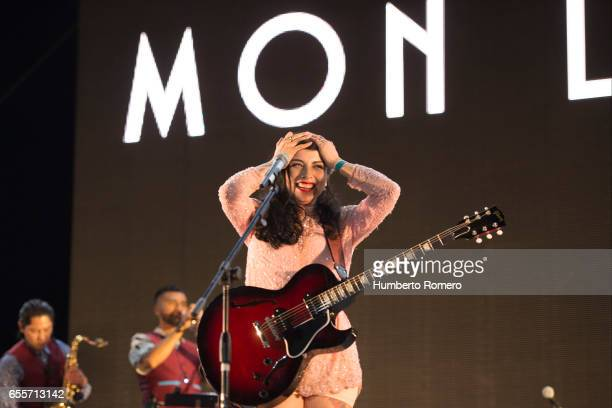Chilean singer Mon Laferte and Juanes perform during a show as part of the Vive Latino 2017 at Foro Sol on March 19 2017 in Mexico City Mexico