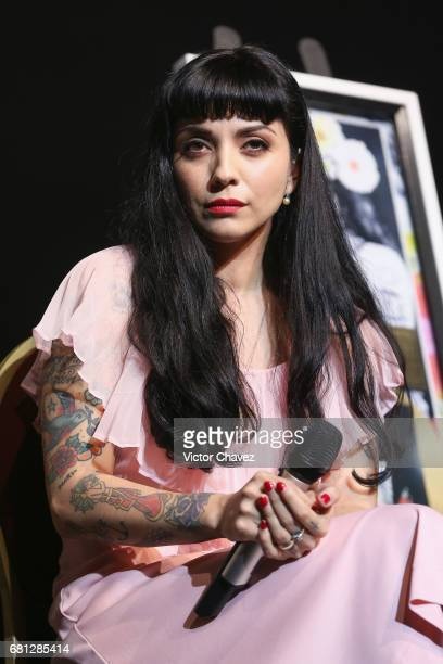 Chilean singer Mon Laferte attends a press conference to promote her new album 'La Trenza' at Teatro de La Ciudad on May 9 2017 in Mexico City Mexico