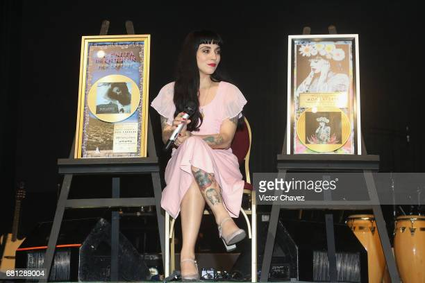 Chilean singer Mon Laferte attends a press conference to promote her new album 'La Trenza' at Teatro de La Ciudad on May 9 2017 in Mexico City Mexico