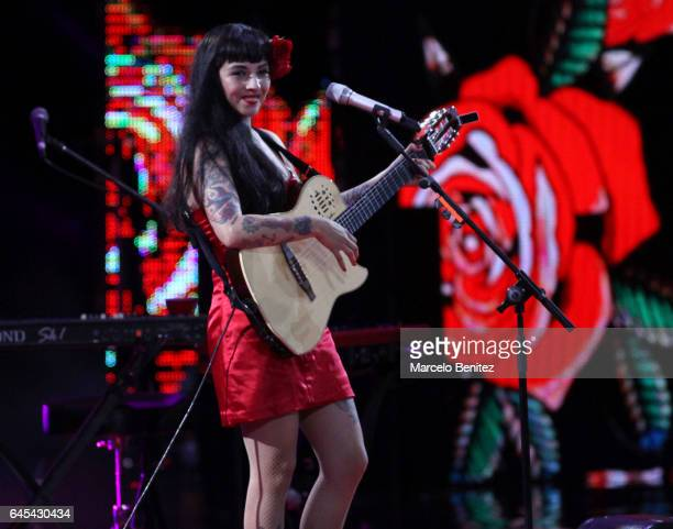 Chilean singer Mon Laferte performs at the stage during 58th Viña del Mar International Song Festival at Quinta Vergara on February 25 2017 in Viña...