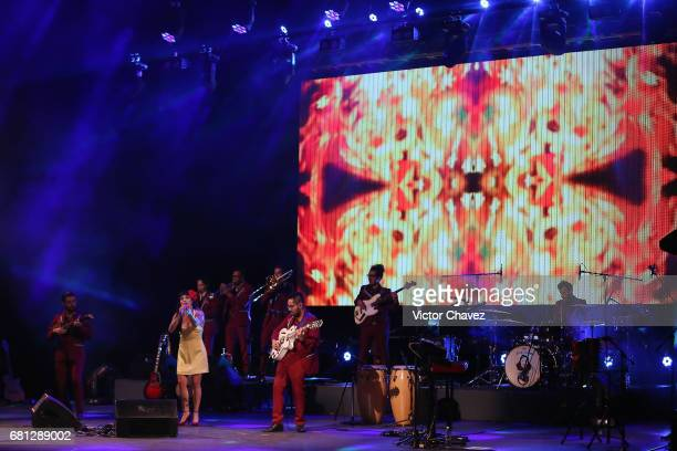 Chilean singer Mon Laferte performs on stage during the promotion of her new album launch 'La Trenza' at Teatro de La Ciudad on May 9 2017 in Mexico...