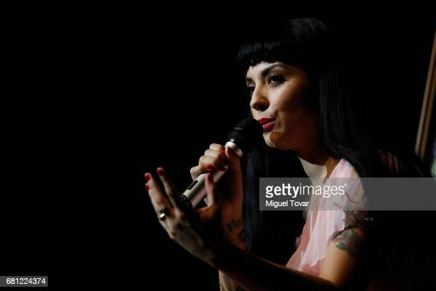 Chilean singer Mon Laferte speaks during the press conference to present her new album 'La Trenza' at Teatro de la Ciudad Esperanza Iris on May 09...