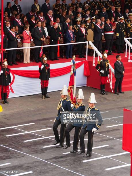 Chilean soldiers marching on Military parade commemorating 196th anniversary of Peruvian independence
