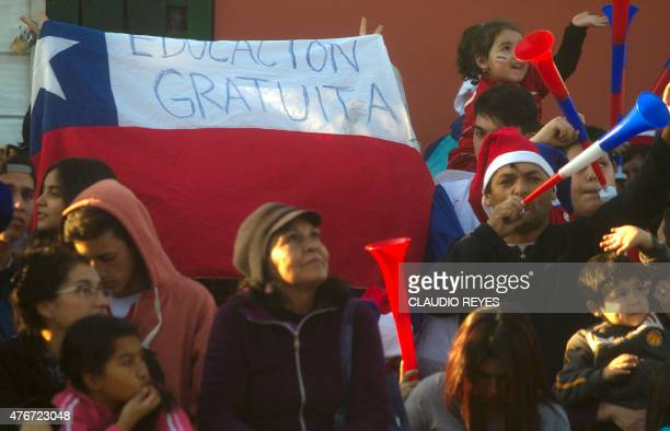 Chilean students protest against the educational reform in front of the center where Chile's national football team trains for the Copa America 2015...