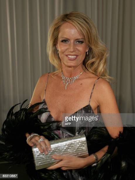 Chilean television entertainer Cecilia Bolocco Miss Universe 1987 and exwife of former Argentine president Carlos Menem poses for the press on her...