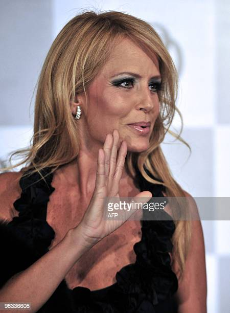 Chilean television entertainer Cecilia Bolocco Miss Universe 1987 and exwife of former Argentine President Carlos Menemwaves upon her arrival at a...