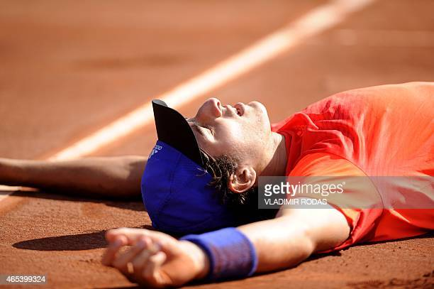 Chilean tennis player Christian Garin celebrates his victory over Peruvian Duilio Beretta during the first round of the Davis Cup Americas Zone Group...