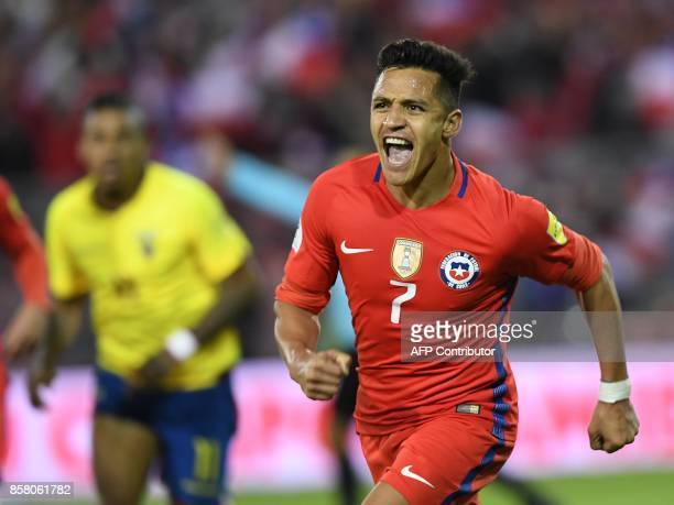 TOPSHOT Chile's Alexis Sanchez celebrates after scoring against Ecuador during their 2018 World Cup qualifier football match in Santiago on October 5...