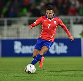Chile's Alexis Sanchez controls the ball during a friendly football match against against Peru at the Elias Figueroa stadium in Valparaiso Chile on...