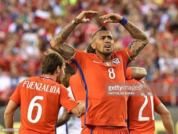Chile's Arturo Vidal celebrates after teammate Eduardo Vargas scored against Panama during their Copa America Centenario football tournament match in...