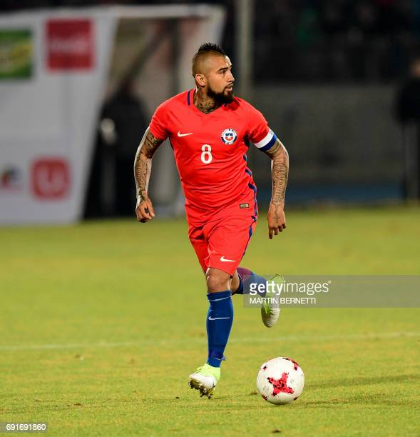 Chile's Arturo Vidal controls the ball during a friendly match against Burkina Faso for the FIFA Confederations Cup Russia 2017 in Santiago on June 2...
