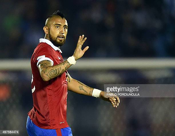 Chile's Arturo Vidal gestures during the Russia 2018 FIFA World Cup South American Qualifiers football match against Uruguay in Montevideo on...