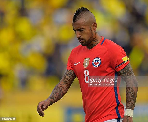 Chile's Arturo Vidal is pictured during the Russia 2018 World Cup football qualifier match against Ecuador in Quito on October 6 2016 / AFP / RODRIGO...