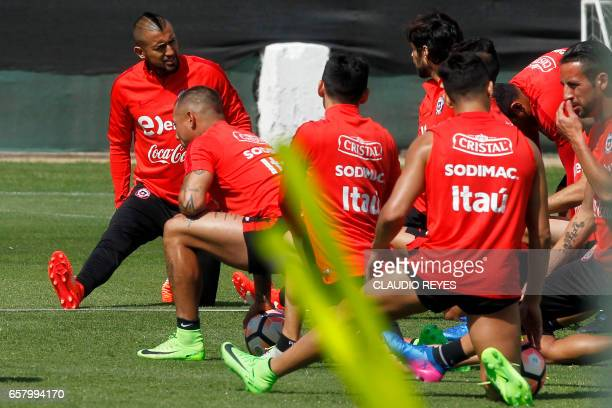 Chile's Arturo Vidal takes part in a training session in Santiago Chile on March 26 on the eve of their FIFA World Cup Russia 2018 South American...