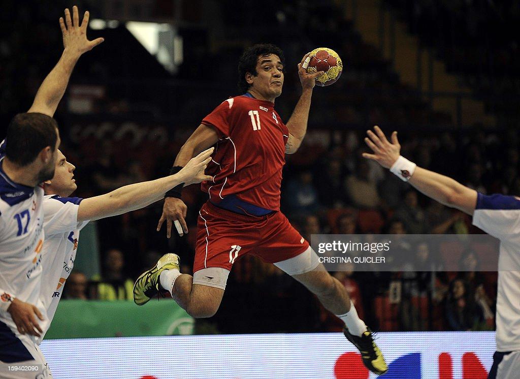 Chile's back Rodrigo Salinas (C) jumps to shoot during the 23rd Men's Handball World Championships preliminary round Group B match Chile vs Iceland at the Palacio de Deportes San Pablo in Sevilla on January 13, 2013. AFP PHOTO/ CRISTINA QUICLER