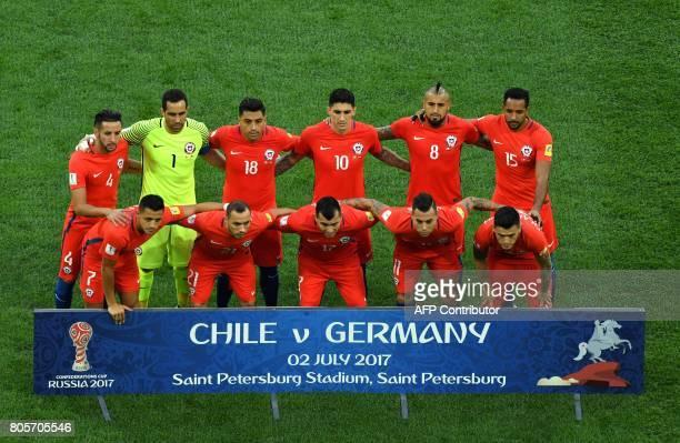 Chile's Chile's defender Mauricio Isla Chile's goalkeeper Claudio Bravo Chile's defender Gonzalo Jara Chile's midfielder Pablo Hernandez Chile's...