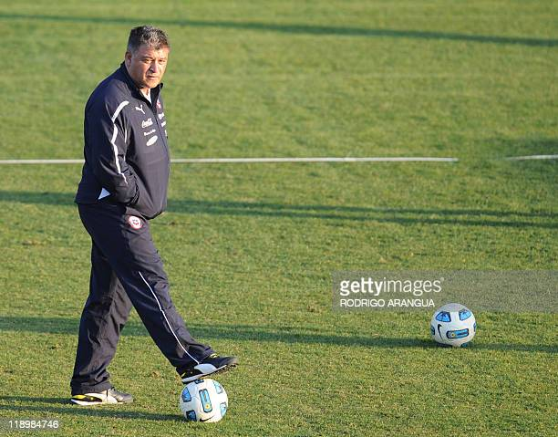 Chile's coach Claudio Borghi commands a training session in Mendoza Argentina on July 13 2011 AFP PHOTO/Rodrigo ARANGUA