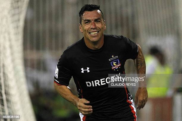 Chile's Colo Colo footballer Esteban Paredes celebrates after scoring against Brazil's Atletico Mineiro during their Copa Libertadores football match...