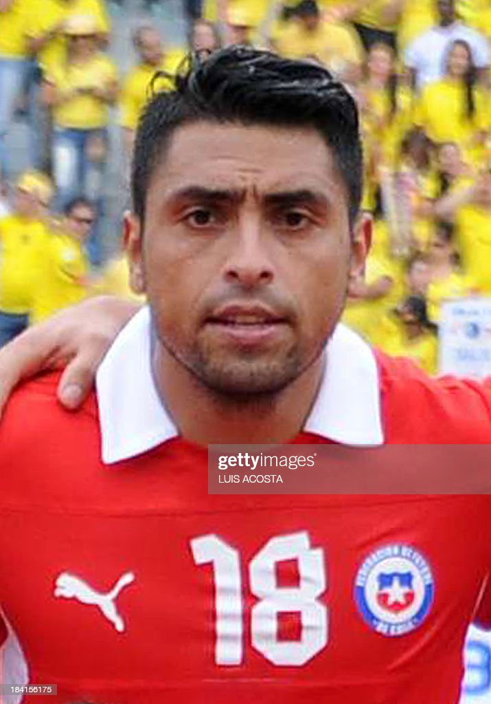 Chile's defender Gonzalo Jara is pictured before the start of the Brazil 2014 FIFA World Cup South American qualifier match against Colombia, in Barranquilla, Colombia, on October 11, 2013.