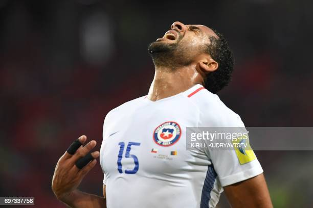 TOPSHOT Chile's defender Jean Beausejour reacts during the 2017 Confederations Cup group B football match between Cameroon and Chile at the Spartak...